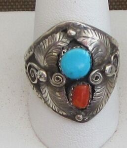Signed-Size-10-1-2-Ring-a-Blue-Turquoise-and-Coral-Free-forms-Set-in-Sterling