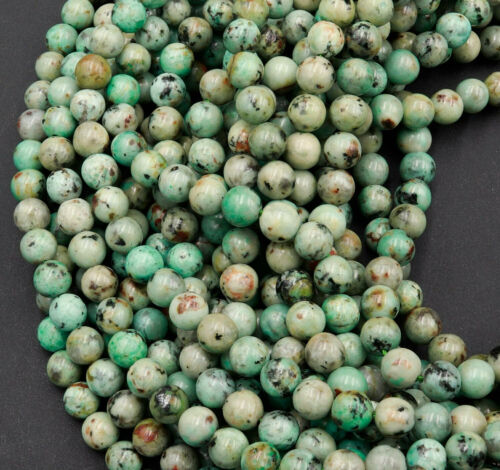 """African Turquoise 6mm 8mm Round Beads AAA Grade 16/"""" Strand"""