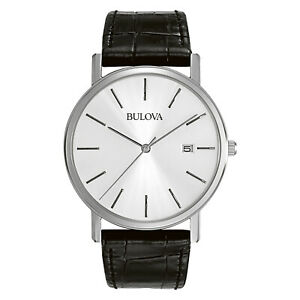 Bulova-Men-039-s-96B104-Quartz-Silver-Dial-Black-Leather-Strap-37mm-Watch