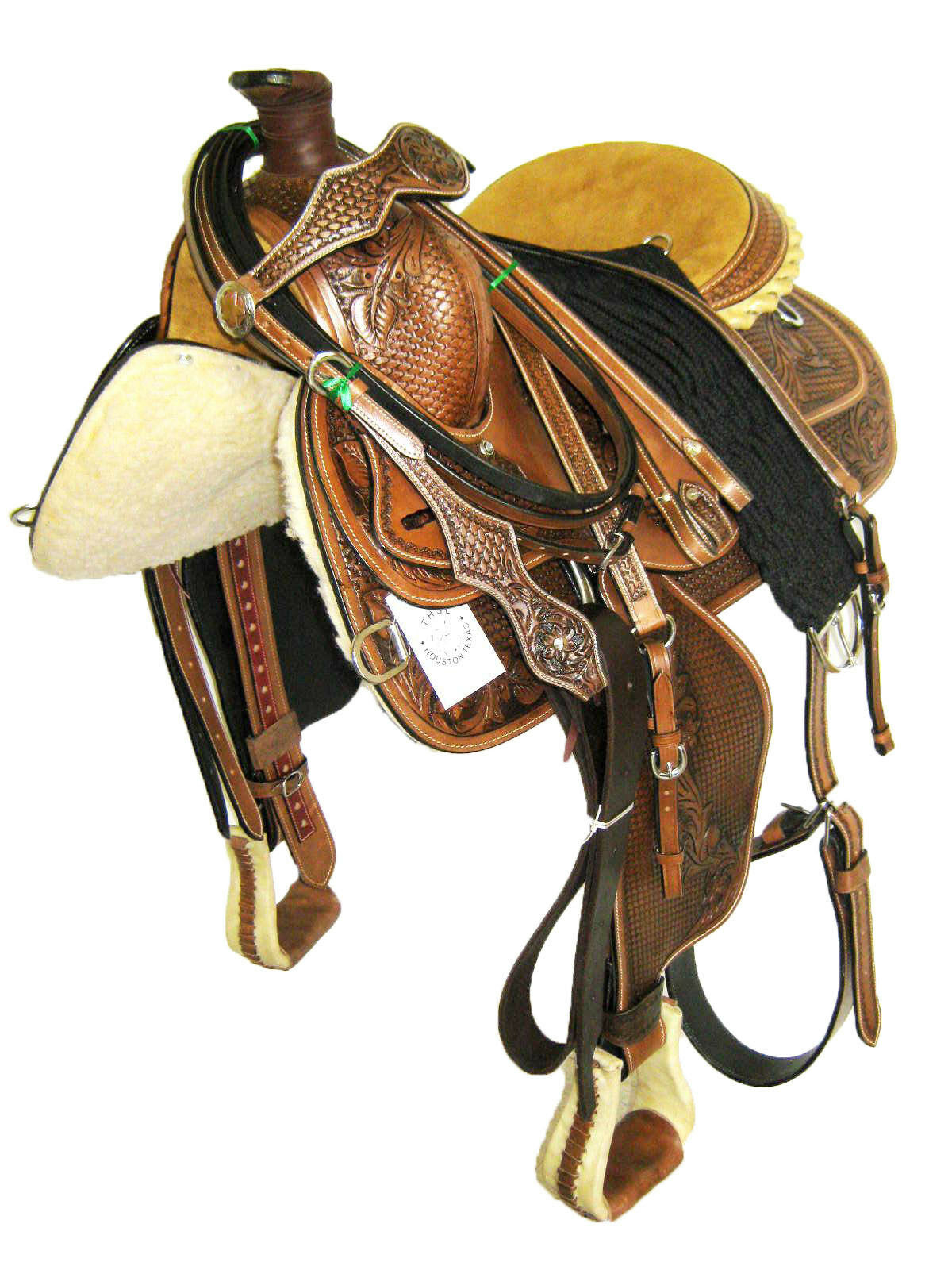 WESTERN ROPING SADDLE SET - HAND  CARVED 'THSL' OIL BROWN 16   (1045OB) NEW  team promotions