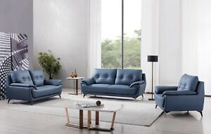 Pleasing Details About 3Pc Modern Blue Microfiber Leather Sofa Loveseat Chair Living Room Set Andrewgaddart Wooden Chair Designs For Living Room Andrewgaddartcom