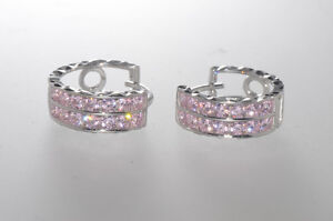 Sterling-Silver-Pink-CZ-Hoop-Earrings-2-Row-Cubic-Zirconia-CZ-14mm-x-6mm