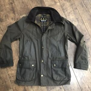 Men-s-Barbour-Ashby-Olive-Khaki-Wax-Jacket-Small