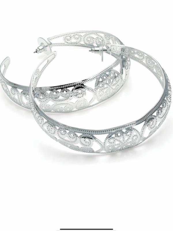 Large 7cm Silver Colour Filigree Hoop Earrings Costume Jewellery Present Gift