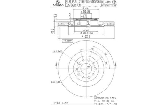 2x BREMBO Discos de freno delanteros Ventilado 305mm 09.A444.40