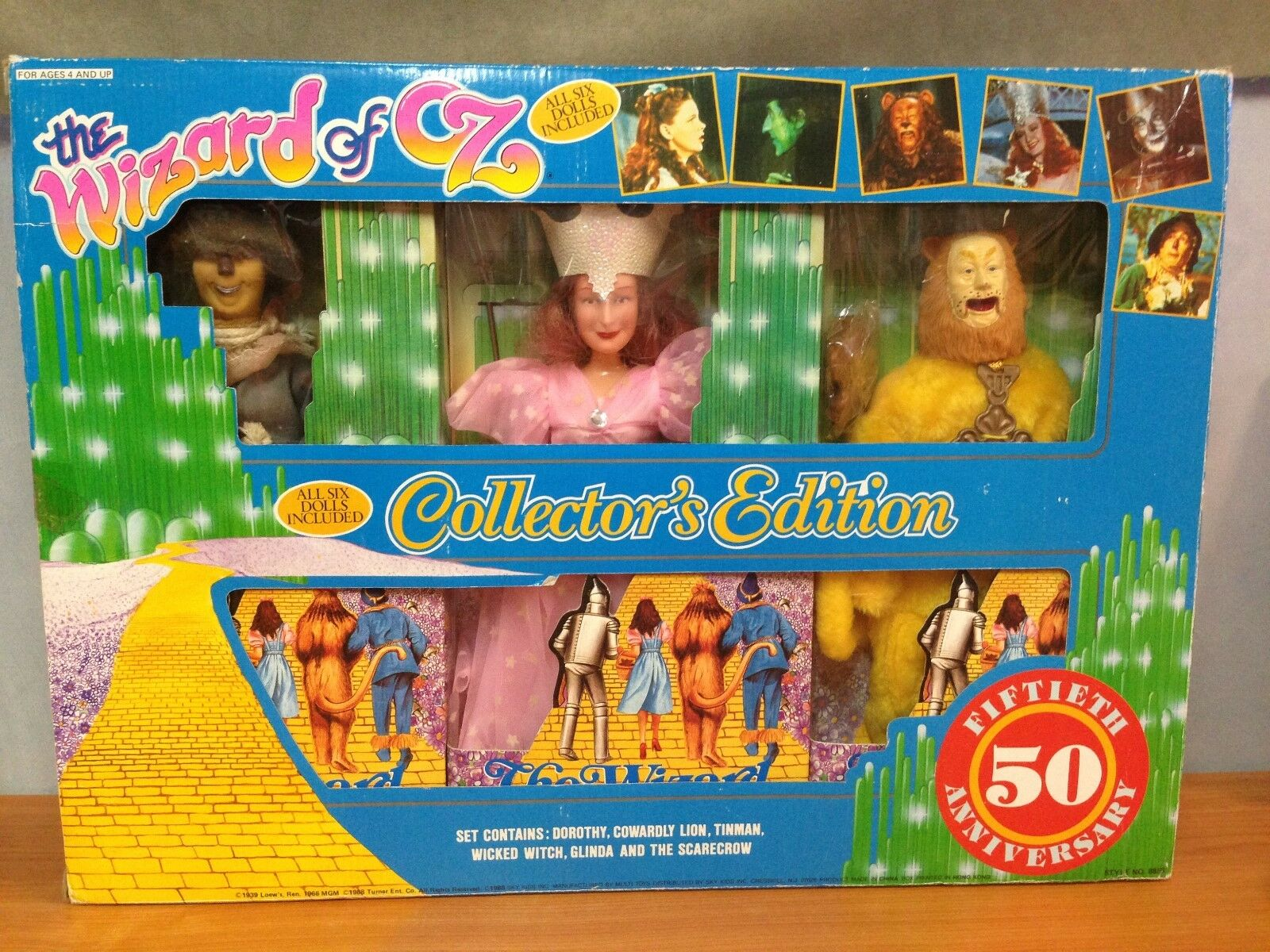 Vintage 1988 El Mago de Oz Collectors Edition 6 Figura Set 50th aniversario
