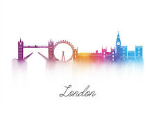 PAINTING DIGITAL LONDON ENGLAND LANDMARK SKYLINE POSTER WALL ART PRINT    LF2916