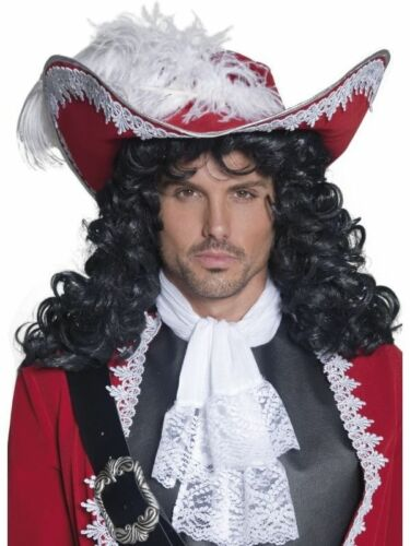 Deluxe Mens Boys Teen Black Pirate Captain Wig /& Hat Fancy Panto Hook Style Pan