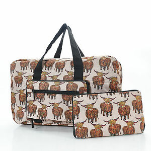 Image Is Loading Eco Chic Highland Cow Foldaway Holdall Travel Weekend