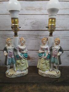 2-Small-Vintage-Antique-Victorian-Figures-Lamps-Japan-Gold-Trim-MK6