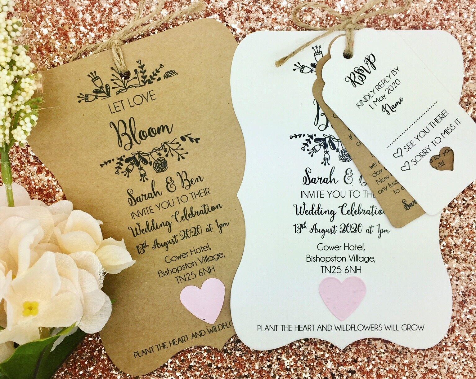 Summer Rustic Wedding Invitation Bundle, Plantable Seed Paper Confetti, Floral