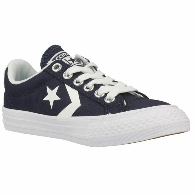 3d7dd154b14011 Converse Star Player Ev Ox Athletic Navy White Youth Canvas Trainers Shoes  New