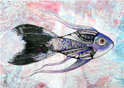 Set of 4 Fish ACEO Limited Edition Print of Original by Xenia Hahonina