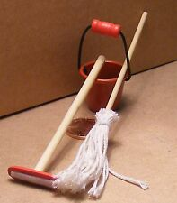 1:12 Scale Dolls House Miniature Kitchen Cleaning Accessory Bucket Mop & Broom