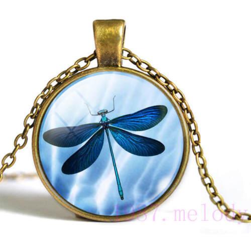Neuf Cabochon Verre Collier Bronze Charme Rétro Pendentifs : Bleu Libellule