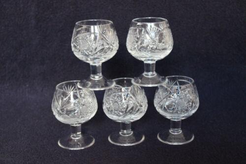 5 edle kleine Römer Cognac Bleikristall geschliffen