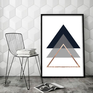 Details About Hk Modern Geometric Triangle Canvas Wall Painting Poster Home Decor Unframed Fa