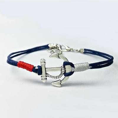 Fashion Women Men Leather Handmade Cuff Wristband Anchor Bracelet Bangle Gift