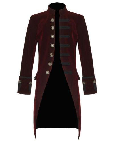 Men/'s Velvet Handmade Frock Coat Gothic Victorian Jacket Steampunk//Burgundy