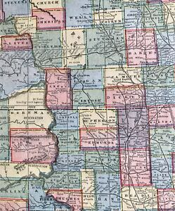 Authentic 1889 Vintage Color Map NEBRASKA NORTH & SOUTH DAKOTA 2 ...