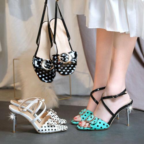 Women/'s Casual Pois Talon Haut Sandales En Cuir Synthétique Bout Ouvert Chaussures Taille Plus