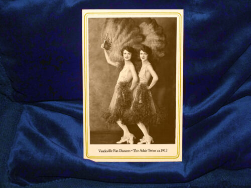 ADAIR TWINS 1912 Vaudeville Fan Dancing Act Cabinet Card Photo Stage Dance