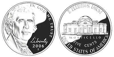 2006 P D S Satin BU and Proof Jefferson Nickel Set-three coins