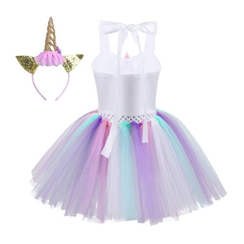 Kids Girls Cartoon Outfit Tutu Dress Rainbow Party Princess Cosplay Costume Set