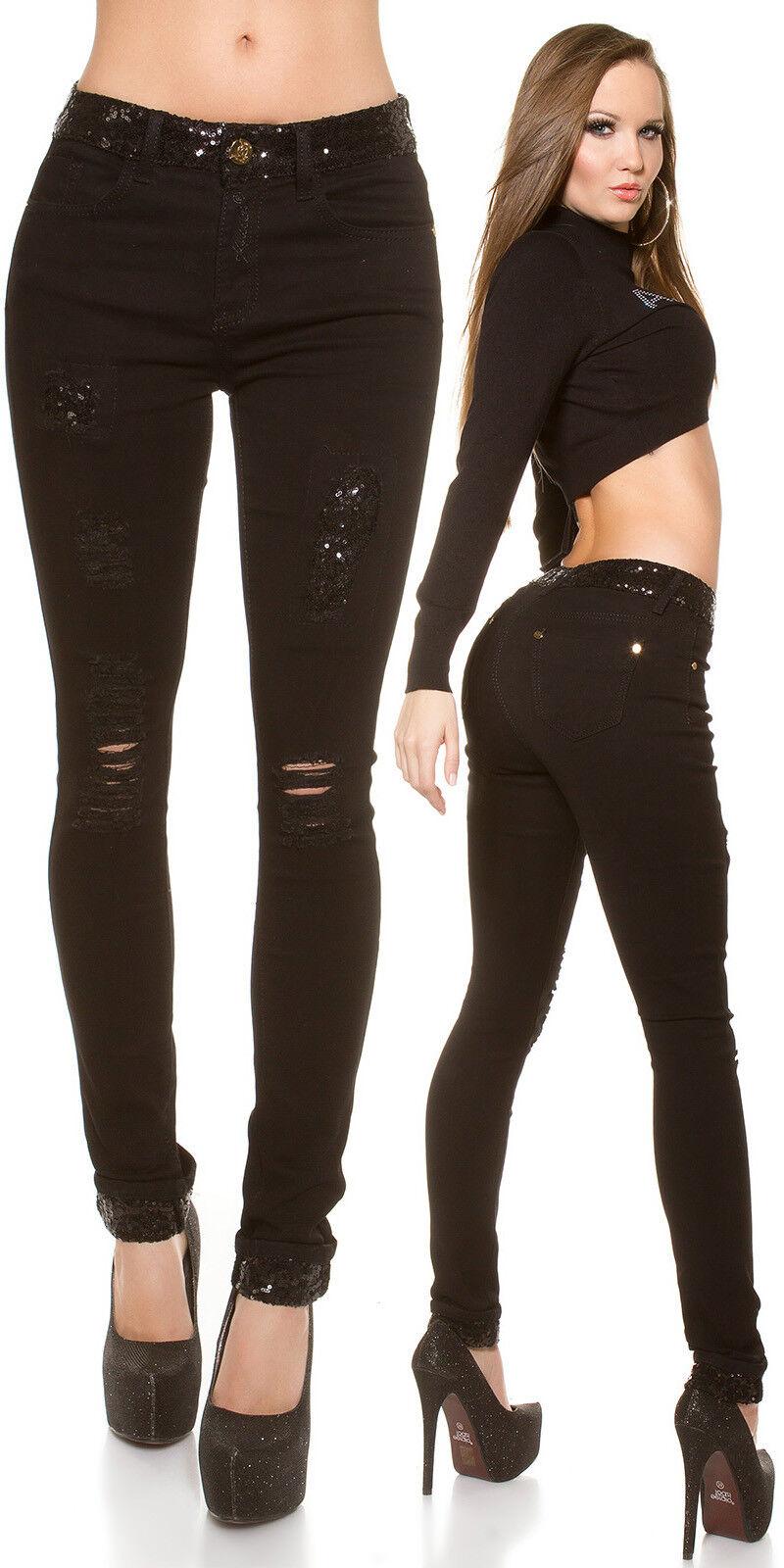 Jeans stretti donna pantalone STRETCH SKINNY  STRAPPI E PAILLETTES PAILLETTES PAILLETTES colore NERO 7d3e8c