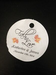 Wedding Thank You Gifts Who Gets : PERSONALIZED Round Wedding Favor Thank You Gift Tags Fall In Love ...