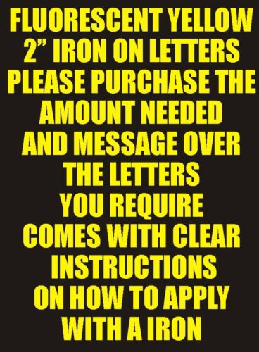 Letters or Numbers Vinyl Printing Two Inch Flo Yellow Iron On Characters