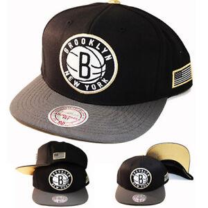 cb0ee3b6374 Mitchell   Ness NBA Brooklyn Nets Snapback Hat Black Grey metallic ...