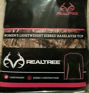 Realtree-Women-039-s-Warm-Underware-Base-Layer-Long-Sleeve-Crew-Neck-Top-Black-Large