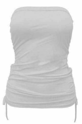 Ladies Strapless Side Tie Ruched Vest Top Womens Bandeau Boob Tube Top Plus Size