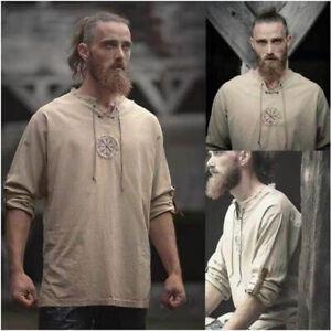 Mens-Light-Plain-Collarless-Casual-Festival-Hippie-Full-Sleeved-Grandad-Shirt