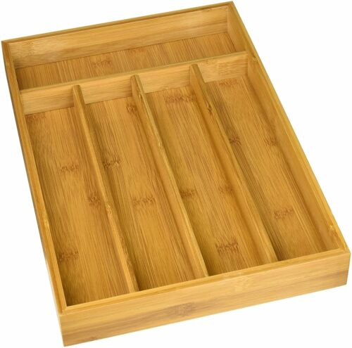 """14.5/"""" X 10 Culinary Edge 5 Compartment Bamboo Utility Drawer Organizer"""