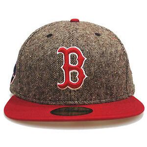 New-Era-59fifty-BOSTON-REDSOX-Tweed-ESCUDO-Marron-Rojo-5950-Gorra-Ajustada-7-1-8