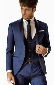 Vestiti Cerimonia Uomo Blu.Abito Uomo Cerimonia Sposo Vestiblita Slim Smoking Blu Corsari