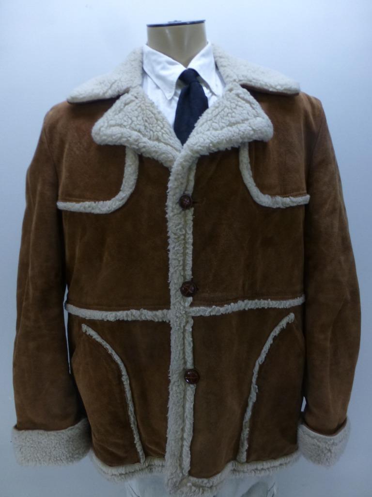 Vtg Wellington Shearling Leder Marlboro rancher sherpa winter Coat mens 46 R