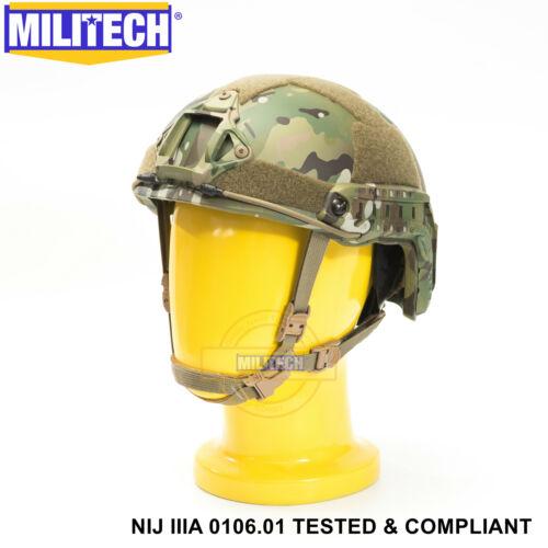 MILITECH NIJ IIIA 3A MC XL//XXL Dial Liner High Cut Ballistic Bulletproof Helmet