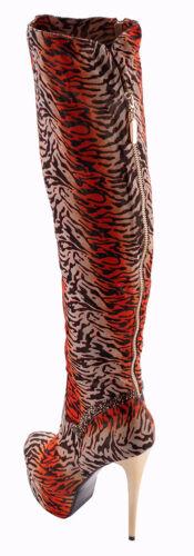 hoge dierenprint Oranje hak laarzen kniehak Eu 41 maat over xP76awq7B