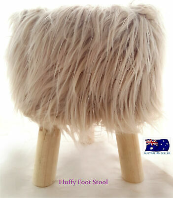 Modern Cream Fluffy Sitting Stool or Foot Stool Ottoman Pouffe with Padded Seat