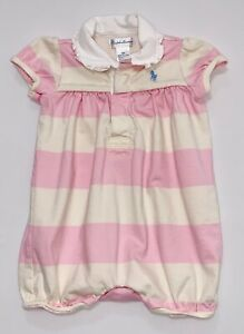 ba20156e Details about Ralph Lauren Ruffled Pink & Ivory Rugby Striped Bubble Short  Romper, 9 mos.