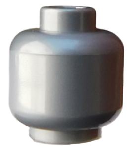 Lego-2-Stueck-Kopf-in-silber-flat-silver-unbedruckt-einfarbig-Neu-3626c