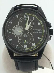 Citizen-Day-Date-Used-Black-Eco-Drive-Solar-Mens-Watch-Authentic-Working