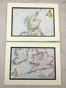 1920-Antik-Aufdruecke-Karte-der-Britisch-Isles-Britain-United-Kingdom-Industrie
