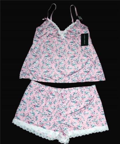 2-Pc Laura Ashley Pink Floral Lace Cami Top /& Shorts Pajamas Set Wms Sizes $36