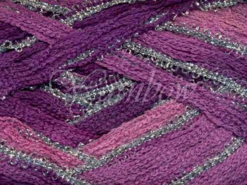 ruffle scarf yarn Rose-Violet-Purple w//Silve 50/% OFF :Broadway #04: Euro Yarns