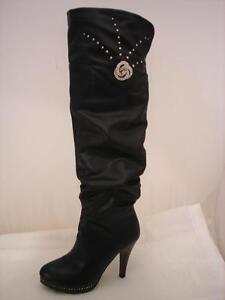 scelta migliore 60% economico Raccogliere Dettagli su Stivali lunghi donna N°36 tacco alto con strass