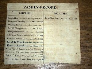 Antique-Handwritten-Family-Record-Rauch-Records-from-1773-1834